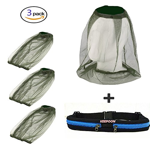 3Pack Mosquito Head Net Face Netting for Bugs Mosquito Repellent Clothing Mosquito Net for Hat with Handfree Waist bag for Outdoor Camping,Hiking,Traveling,Fishing Beekeeping and (Insect Head)