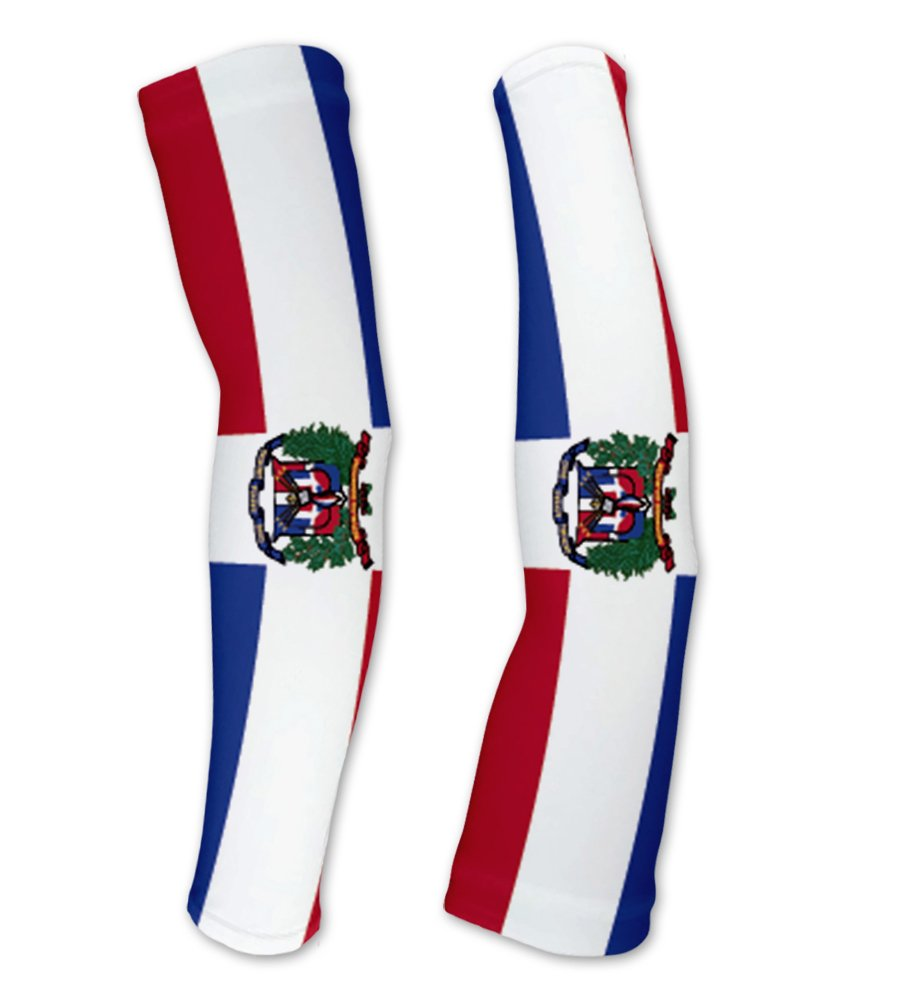 Dominican Republic Flag Compression Arm Sleeves UV Protection Unisex - Walking - Cycling - Running - Golf - Baseball - Basketball - Size XS