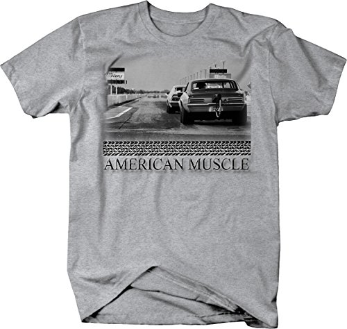 Bold Imprints American Muscle Drag Racing Quarter Mile Chevy Tshirt - Large Heather Grey