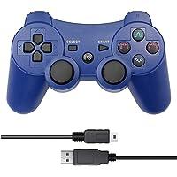 Control inalámbrico Bluetooth para Playstation 3 PS3 con Cable USB (Azul)
