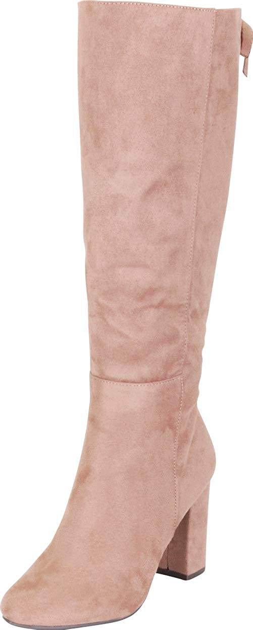 Warm Taupe Imsu Cambridge Select Women's Back Lace Chunky Block Heel Knee-High Boot