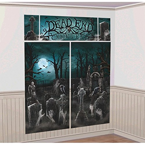 Amscan Creepy Cemetery Halloween Party Scene Setter Decoration (Pack of 5), Black/White, Assorted Sizes - Halloween Graveyard Scene