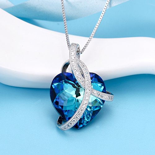 """EleQueen 925 Sterling Silver CZ """"Courageous Heart"""" Inspired Pendant Necklace Made with Swarovski Crystals"""