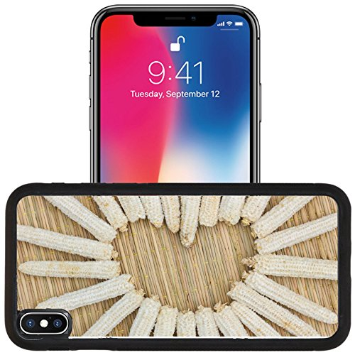 Luxlady Apple iPhone x iPhone 10 Aluminum Backplate Bumper Snap Case IMAGE ID: 35607913 heart shape made of corn cobs on thai traditional mat love (Corn Cob Shape)
