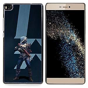 """Qstar Arte & diseño plástico duro Fundas Cover Cubre Hard Case Cover para Huawei Ascend P8 (Not for P8 Lite) (Futuro Guerrero"""")"""