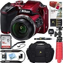 Nikon COOLPIX B500 16MP 40x Optical Zoom Digital Camera w/Built-in Wi-Fi NFC & Bluetooth + 16GB SDHC Accessory Bundle (Red)