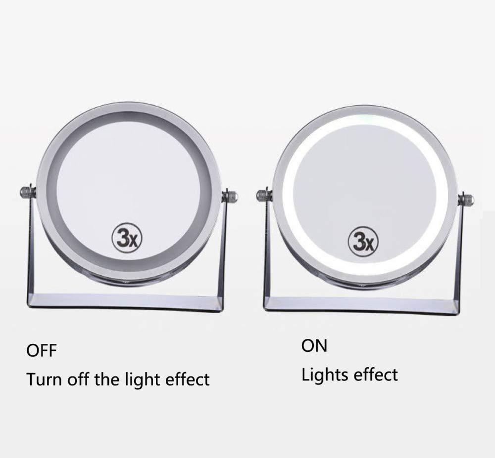 WERTYUH LED Beleuchteter Schminkspiegel Beidseitiger Schminkspiegel Mit Normaler Und Dreifacher Vergr/ö/ßerung 2-in-1 Um 360 /° Kosmetikspiegel Schwenkbarer Dimmbarer Schminkspiegel,Silver