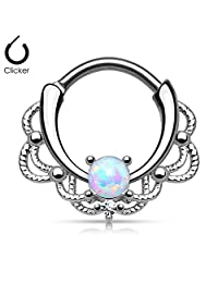 16g (1.2mm) Septum Clicker Lacey Single Opal (316L) Surgical Steel, Nickle Free (1 Piece)