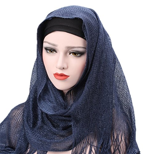 YABINA Womens Lightweight Poly Cotton Jersey Hijab Scarf (Navy (Navy Blue Jersey Scarf)