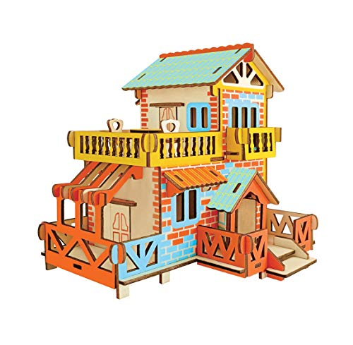Aryellys Natural Wood 3D Puzzle Tiny House Collection Wooden Jigsaw Craft Building Set (Country Cottage)