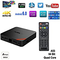 Mercu T95N 4K UHD Smart Set-Top Box Amlogic S905x Quad-core 1GB RAM 8GB ROM with 2.4G Wifi 3D H.265 Ethernet Android Box (1GB+8GB)
