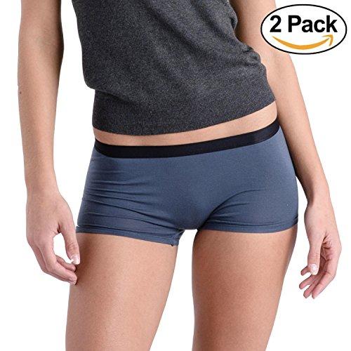 Shorty Boyshorts Panty (Comfortable Club Women's Modal Microfiber Boyshorts Panties Underwear 2-Pack (Slate Gray, 2XL))