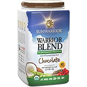 Sunwarrior - Warrior Blend, RAW Plant Based Protein, Chocolate, 40 Servings (2.2 lbs)