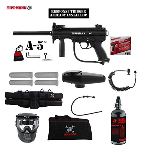 (MAddog Tippmann A5 A-5 w/Response Trigger Specialist HPA Paintball Gun Package - Black)