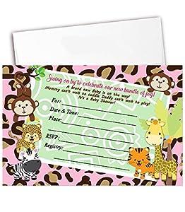 amazon com girl baby shower invitations safari jungle invitation 20