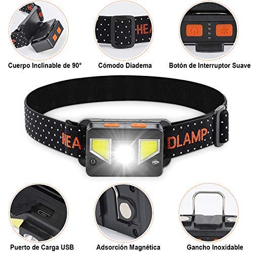 bedee Linterna Frontal LED Recargable, Linterna Cabeza 8 Modos de Iluminación, Linterna Frontal LED Alta Potencia IPX5 Impermeable para Running, Acampar, Pesca, Ciclismo, Excursión (2 Pack)