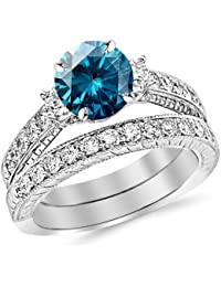 2.53 Carat 14K White Gold Three Stone Vintage With Milgrain & Filigree Bridal Set with Wedding Band & Diamond Engagement Ring with a 1.5 Carat Blue Diamond Center (Heirloom Quality)
