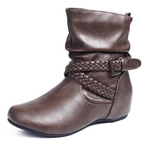 Boots Basso Punta AgeeMi Tonda Marrone Zeppa Donna Tacco Shoes f06UBwO