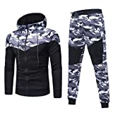 Sports Suit,Caopixx Men's Autumn Winter Camouflage Sweatshirt Top Pants Sets Tracksuit (Asia Size L=US Size M, Black(Tracksuit))