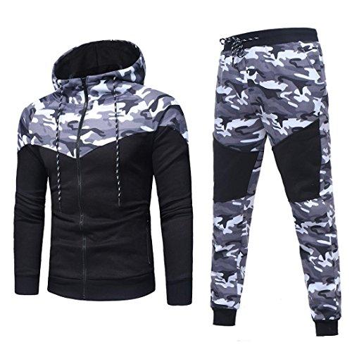 Sports Suit,Caopixx Men's Autumn Winter Camouflage Sweatshirt Top Pants Sets Tracksuit (Asia Size L=US Size M, Black(Tracksuit)) by Caopixx Trousers