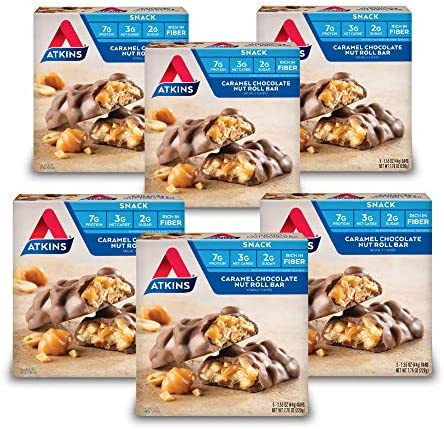 Atkins Snack Bar, Caramel Chocolate Nut Roll, Keto Friendly, 30 Count Pack of 6