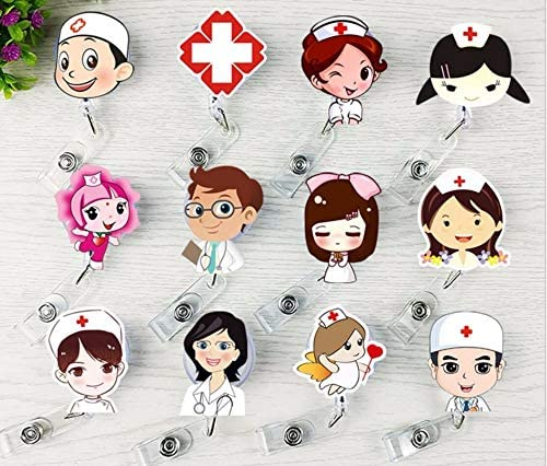 Büroartikel Cross Medical Mark Pattern Niedliche versenkbare Abzeichen Reel Student Krankenschwester ID Name Card Badge Karteikartenablage