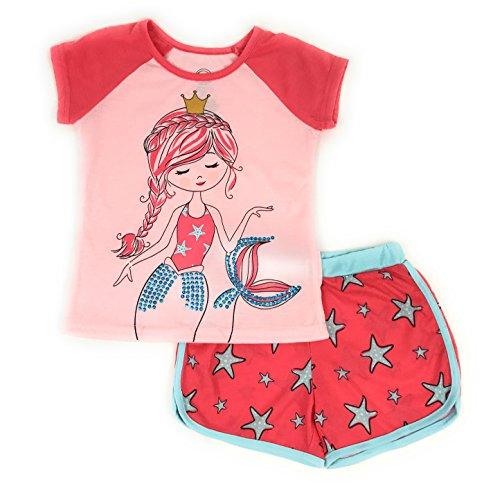 Zoey Ranch - Wonder Nation Girls Graphic Short Sleeve Top and Shorts 2-Piece Pajamas, Unicorn, Cat, Dog, Mermaid Styles (Large (10/12), Coral Mermaid)