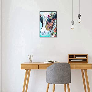Canessioa Funny Cow Picture Abstract Cow Canvas Painting Colorful Animal Art Print 12