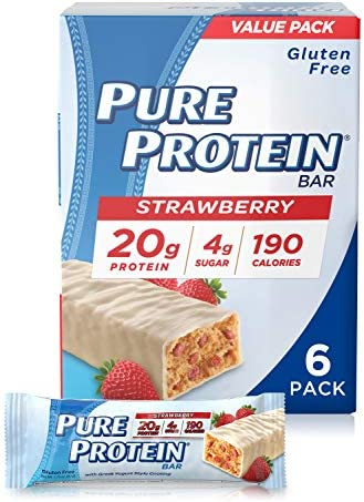 Pure Protein Bars, High Protein, Nutritious Snacks to Support Energy, Low Sugar, Gluten Free, Strawberry Greek Yogurt, 1.76oz, 6 Pack