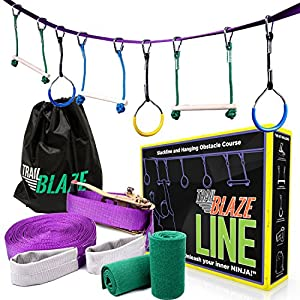 Trailblaze Ninja Line Hanging Obstacle Course for Kids - 40' Set for Backyard Warrior Fitness Fun - Slackline Monkey Bars Kit + Tree Protectors - Carry Bag Included
