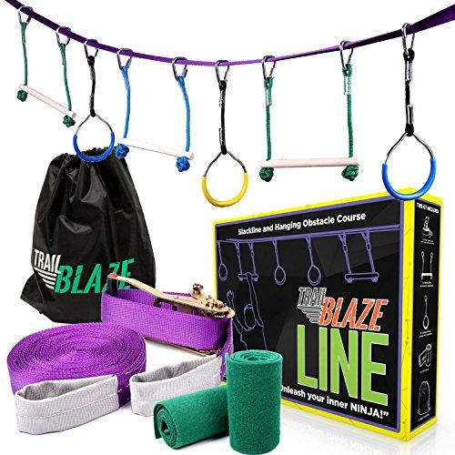 Trailblaze Ninja Line Hanging Obstacle Course for Kids - 40' Set for Backyard Warrior Fitness Fun - Slackline Monkey Bars Kit + Tree Protectors - Carry Bag (Children Hanging)