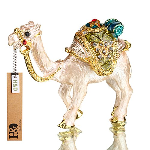 YUFENG Mini Figurine Trinket Boxes Ornament Crystals ,Hand-painted Patterns Jewelry Trinket Box Hinged Collectible Ring Display Holders for Women or Girl (camel trinket box) - Ornament Trinket