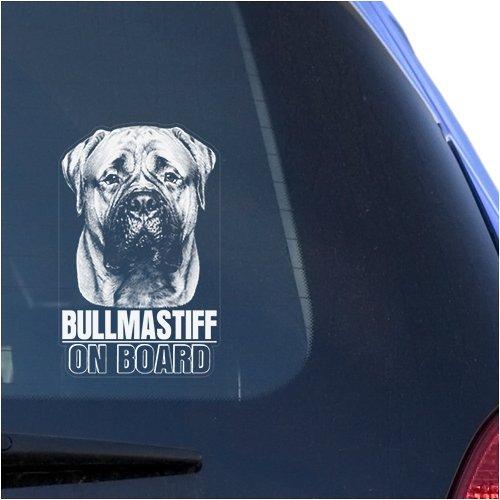 - Bullmastiff Clear Vinyl Decal Sticker for Window, Bull Mastiff Dog On Board Sign Art Print