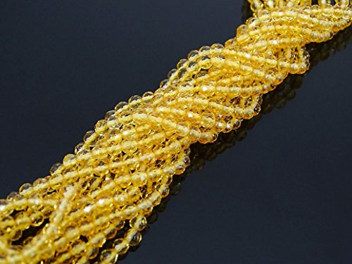jennysun2010 Natural Citrine Gemstone 3mm Faceted Round Loose Beads Length 15.5'' Inches (38.5cm) 1 Strand per Bag for Bracelet Necklace Earrings Jewelry Making Crafts Design Healing