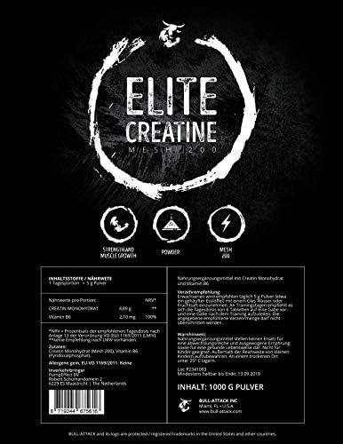 1000g / 1kg ELITE CREATINE | 200 Portionen Creatin Monohydrat mit Vitamin B6 | mikronisiertes Kreatin Pulver | Meshfaktor 200 Ultrafein für eine optimale Aufnahme | Muskelaufbau, Masseaufbau + Schnellkraft & Kraftsteigerung | Premium Qualität