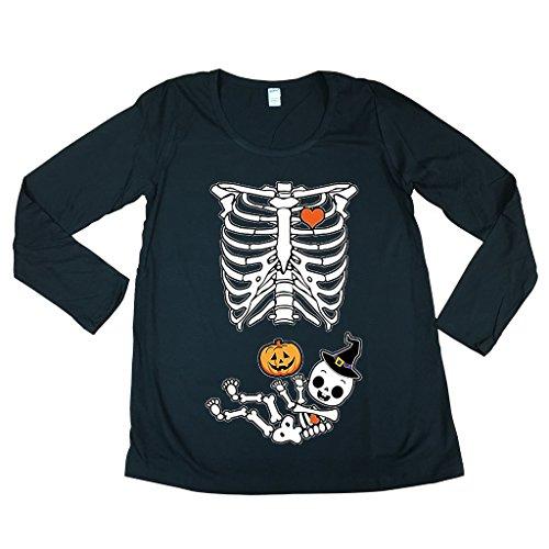[Long Sleeve Halloween Skeleton Baby Costume Horror Maternity DT T-Shirt Tee (X-Large, Black)] (Baby Mama Movie Costume)