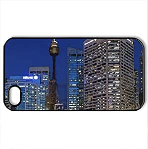 bangkok thailand at night - Case Cover for iPhone 4 and 4s (Skyscrapers Series, Watercolor style, Black) by icecream design