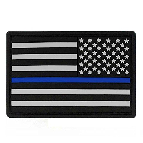 Thin Blue Line REVERSE - American Flag PVC Patch with Velcro