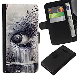 KingStore / Leather Etui en cuir / Samsung Galaxy Core Prime / Arte Naturaleza Profundo Significado Cry Sad;