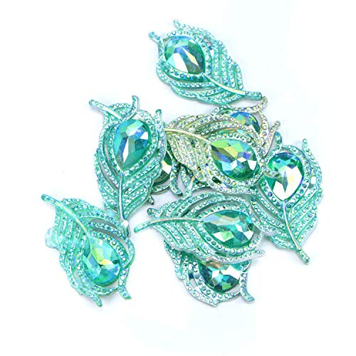 Monrocco 20 Pack Peacock Feather Leaf Resin Sew on Rhinestones Flatback Buttons Embellishments Sew On Stones Crystal