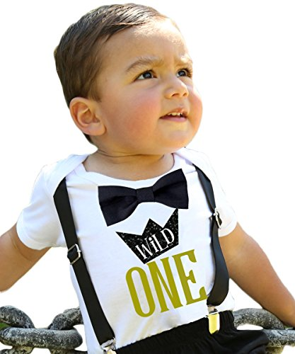 Noah's Boytique Wild One Boys First Birthday Shirt Outfit Boy with Black Bow Tie Black Suspenders and Gold Saying Cake Smash 1st Birthday Party Noah's Boytique12-18 Months -