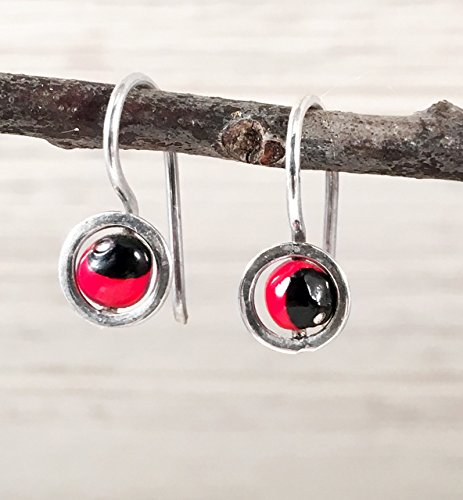 Circular Shape Dangle (Small Drop Hook Sterling Silver 925 Earrings with Circular Band Holding a Small Red and Black Huayruro Seed, Peruvian 'Good Fortune', Polished finish, Handmade in Peru)