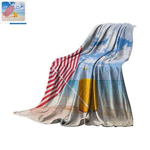 Sunshade Alabama (Yellow and Blue Digital Printing Blanket Windy Sandy Beach with Sunshade and Trolley Summer Holiday Relax Picture Oversized Travel Throw Cover Blanket 60