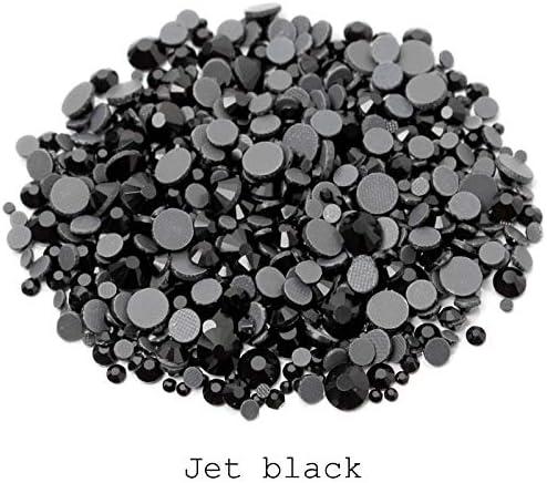 Pukido DMC Jet black Hotfix Rhinestone Mix size SS6-SS30 2000Pcs//lot Flatback stones for rhinestone motifs Color: Jet black