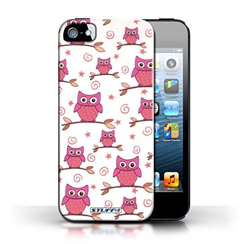 Etui / Coque pour Apple iPhone 5/5S / Rose/blanc conception / Collection de Motif Hibou