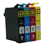 4 Pack - Toners & More ® Remanufactured Inkjet Cartridge Set for Epson T220XL 220XL 220 T220, T220XL120 Black, T220XL220 Cyan, T220XL320 Magenta, T220XL420 Yellow, Compatible with Epson Expression Home XP-320 Small-in-One Expression Home XP-420 Small-in-One Expression Home XP-424 Small-in-One WorkForce WF-2630 WorkForce WF-2650 WorkForce WF-2660