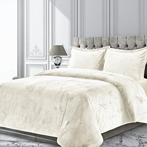 Venice Comforter Set (Tribeca Living Veniceduvetkiiv Venice Velvet Oversized Solid Duvet Set, King, Ivory)