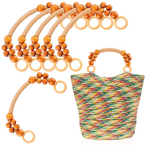 - 6Pcs Wood Beaded Rope Handles Replacement for Handmade Beach Bag Handbags Straw Bag Purse Bag Strap Handles
