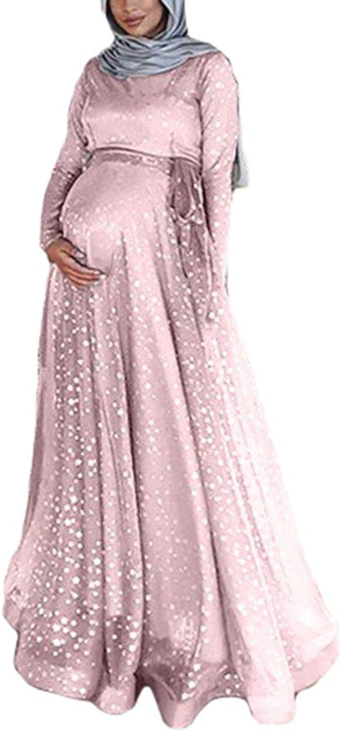 Damen Schwangerschaftskleid, Elegant Lange Ärmel Lose Schwangere
