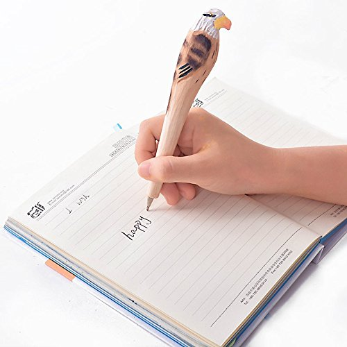 Lazada Novelty Pen Handmade Wood Cartoon Eagle Ballpoint Pens Birthday Gifts (Eagle No.4)